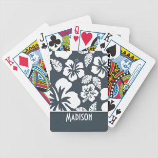 Charcoal Color Tropical Hibiscus; Personalized Bicycle Playing Cards