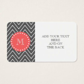 Charcoal Coral Chevron Pattern 2A Monogram Business Card