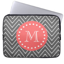 Charcoal Coral Chevron Pattern 2A Monogram Computer Sleeve