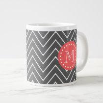 Charcoal Coral Chevron Pattern 2A Monogram Giant Coffee Mug