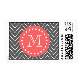 Charcoal Coral Chevron Pattern 2A Monogram Postage Stamp