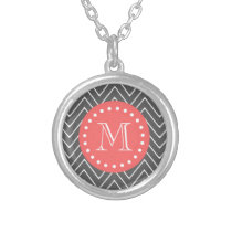 Charcoal Coral Chevron Pattern 2A Monogram Silver Plated Necklace