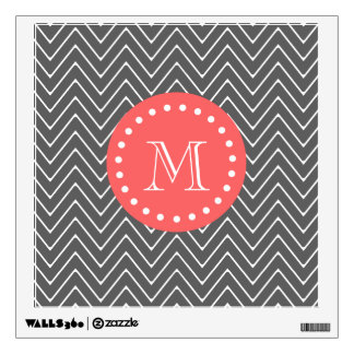 Chevron Monogram Wall Decals Wall Stickers Zazzle - Coral monogram wall decal