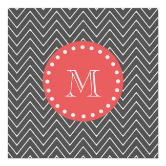 Charcoal Coral Chevron Pattern 2A Monogram Perfect Poster