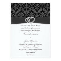 charcoal damask diamante wedding invitation