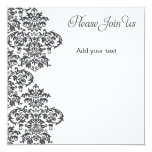 Charcoal Damask Party 5.25x5.25 Square Paper Invitation Card