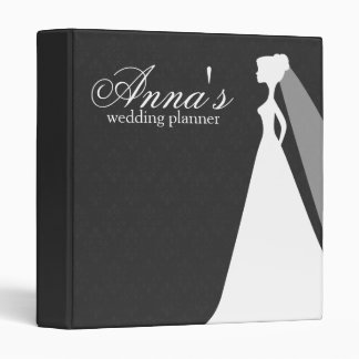 Charcoal Damask Wedding Planner Binder