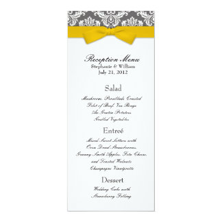 Charcoal Damask with Yellow Bow Reception Menu Card