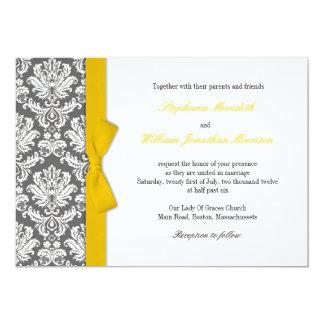Charcoal Damask Yellow Bow Wedding Invitation