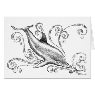Charcoal Dolphins II Greetings Card