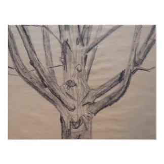 Charcoal Drawing of a Tree Card