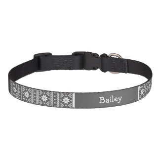 Charcoal Fair Isle Monogram Pet Collar