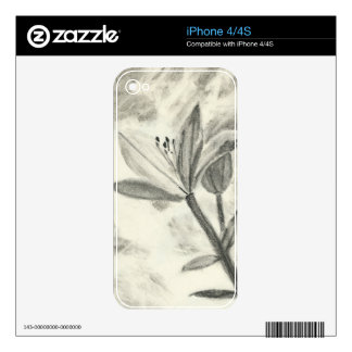 Charcoal Flower iPhone 4 Skins