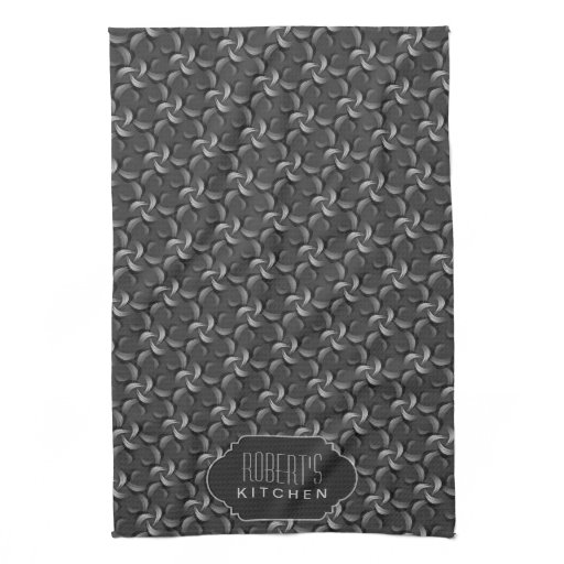 Charcoal Flower Pattern Monogram Kitchen Tea Cloth