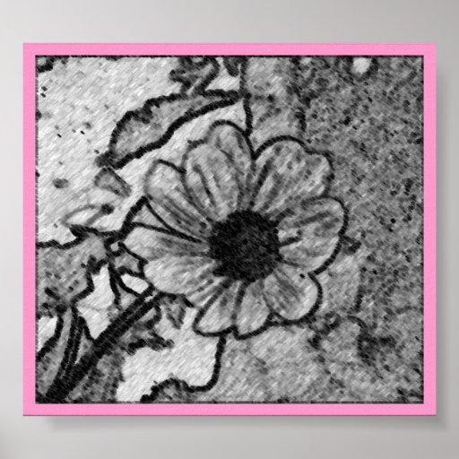 Charcoal flower - print