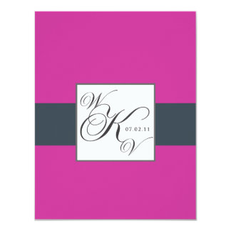 Charcoal Fuchsia Pink Monogram Wedding RSVP Card