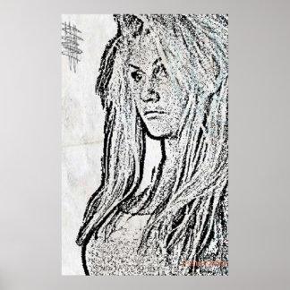 Charcoal girl poster