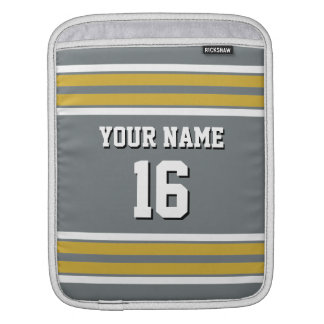 Charcoal Gold White Team Jersey Custom Number Name iPad Sleeve