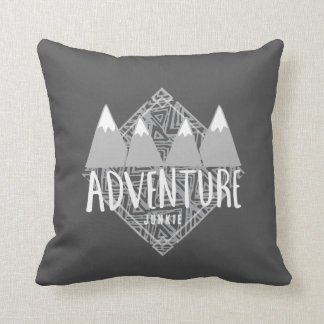 Charcoal Gray Adventure Junkie Mountains Hiking Throw Pillow