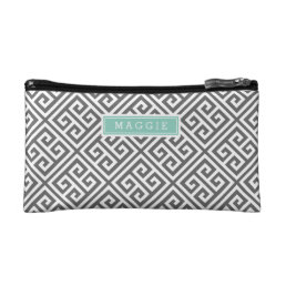Charcoal Gray and Aqua Greek Key Monogram Makeup Bag