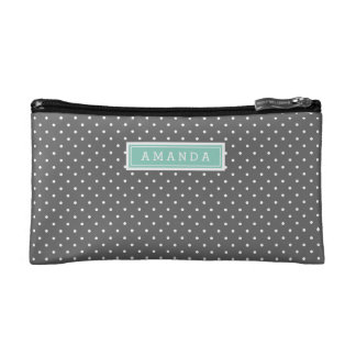Charcoal Gray and Aqua Tiny Dots Monogram Makeup Bag