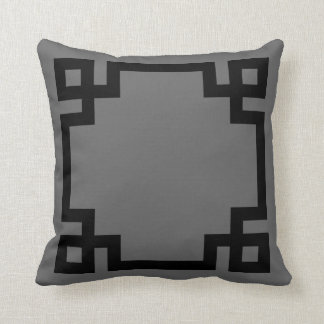 Charcoal Gray and Black Greek Key Border Throw Pillow