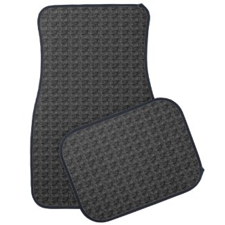 Charcoal Gray and Black Woven Print Car Mats