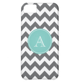 Charcoal Gray and Blue Chevron Custom Monogram iPhone 5C Covers