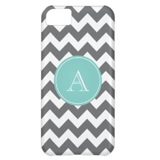 Charcoal Gray and Blue Chevron Custom Monogram iPhone 5C Covers