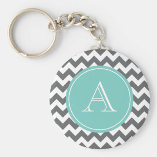 Charcoal Gray and Blue Chevron Custom Monogram Keychain