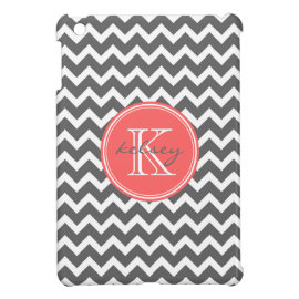 Charcoal Gray and Coral Chevron Custom Monogram iPad Mini Cases