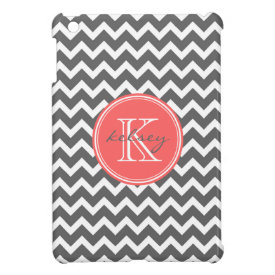 Charcoal Gray and Coral Chevron Custom Monogram iPad Mini Cases