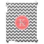 Charcoal Gray and Coral Chevron Custom Monogram Cover For The iPad 2 3 4