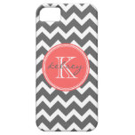 Charcoal Gray and Coral Chevron Custom Monogram iPhone 5 Covers
