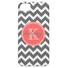 Charcoal Gray And Coral Chevron Custom Monogram Iphone Se/5/5s Case at Zazzle
