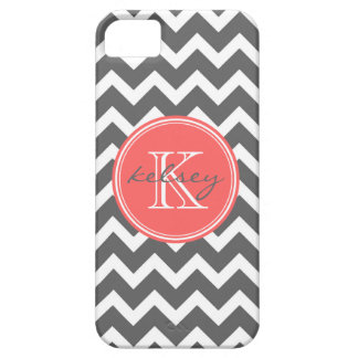 Charcoal Gray and Coral Chevron Custom Monogram iPhone SE/5/5s Case