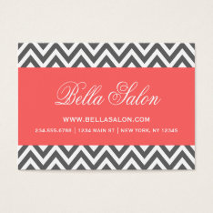 Charcoal Gray And Coral Modern Chevron Stripes Business Card at Zazzle