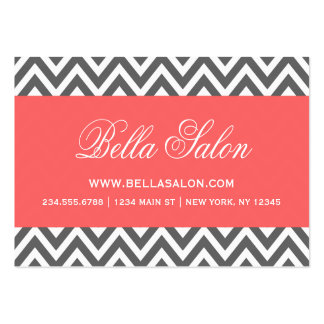 Charcoal Gray and Coral Modern Chevron Stripes Large Business Card