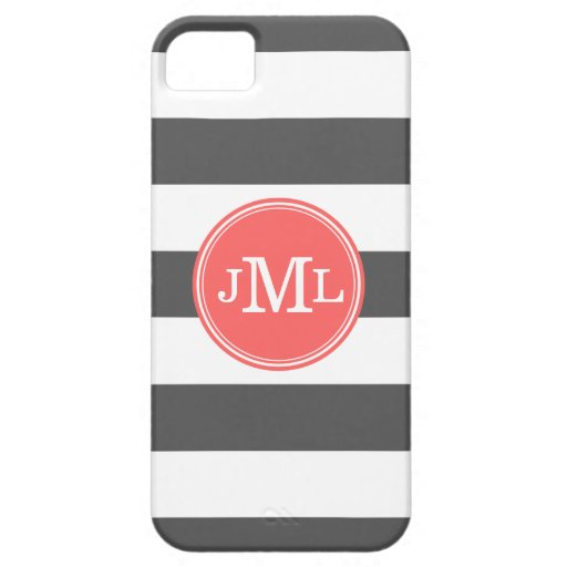 Charcoal Gray and Coral Wide Stripe Monogram iPhone 5 Cover