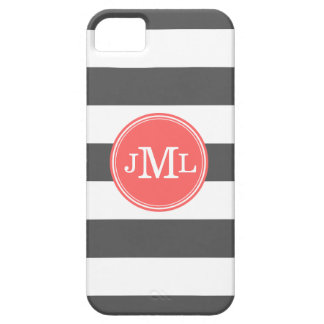 Charcoal Gray and Coral Wide Stripe Monogram iPhone SE/5/5s Case