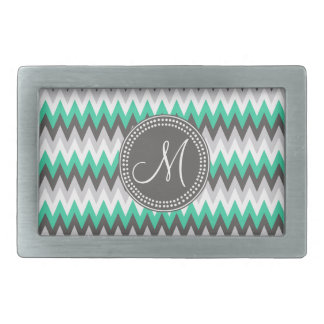 CHARCOAL GRAY AND GREEN CHEVRON BELT BUCKLE
