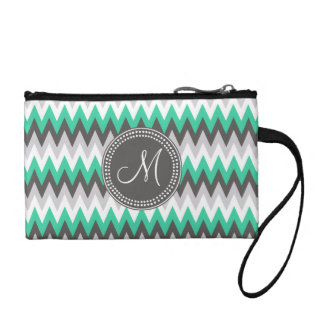 CHARCOAL GRAY AND GREEN CHEVRON COIN WALLET