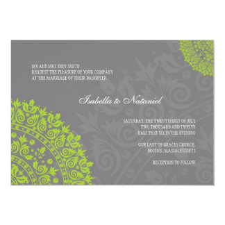 Charcoal Gray and Green Damask Wedding Invitation