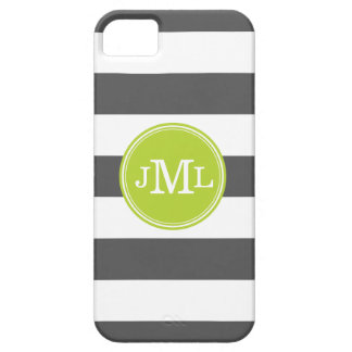 Charcoal Gray and Green Wide Stripe Monogram iPhone SE/5/5s Case