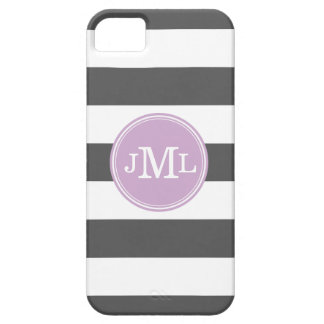 Charcoal Gray and Lilac Wide Stripe Monogram iPhone SE/5/5s Case