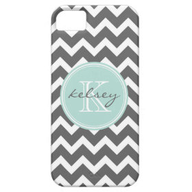 Charcoal Gray and Mint Chevron Custom Monogram iPhone 5 Case