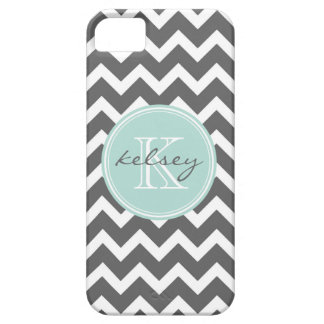 Charcoal Gray and Mint Chevron Custom Monogram iPhone SE/5/5s Case