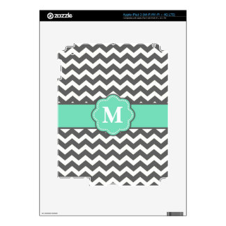 Charcoal Gray and Mint Chevron Personalized Case iPad 3 Skins