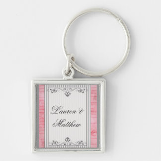 Charcoal gray and pink swirls and stripes Silver-Colored square keychain