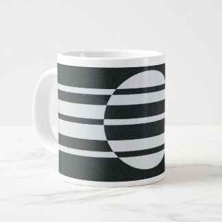 Charcoal Gray and White Abstract Pattern Large Coffee Mug